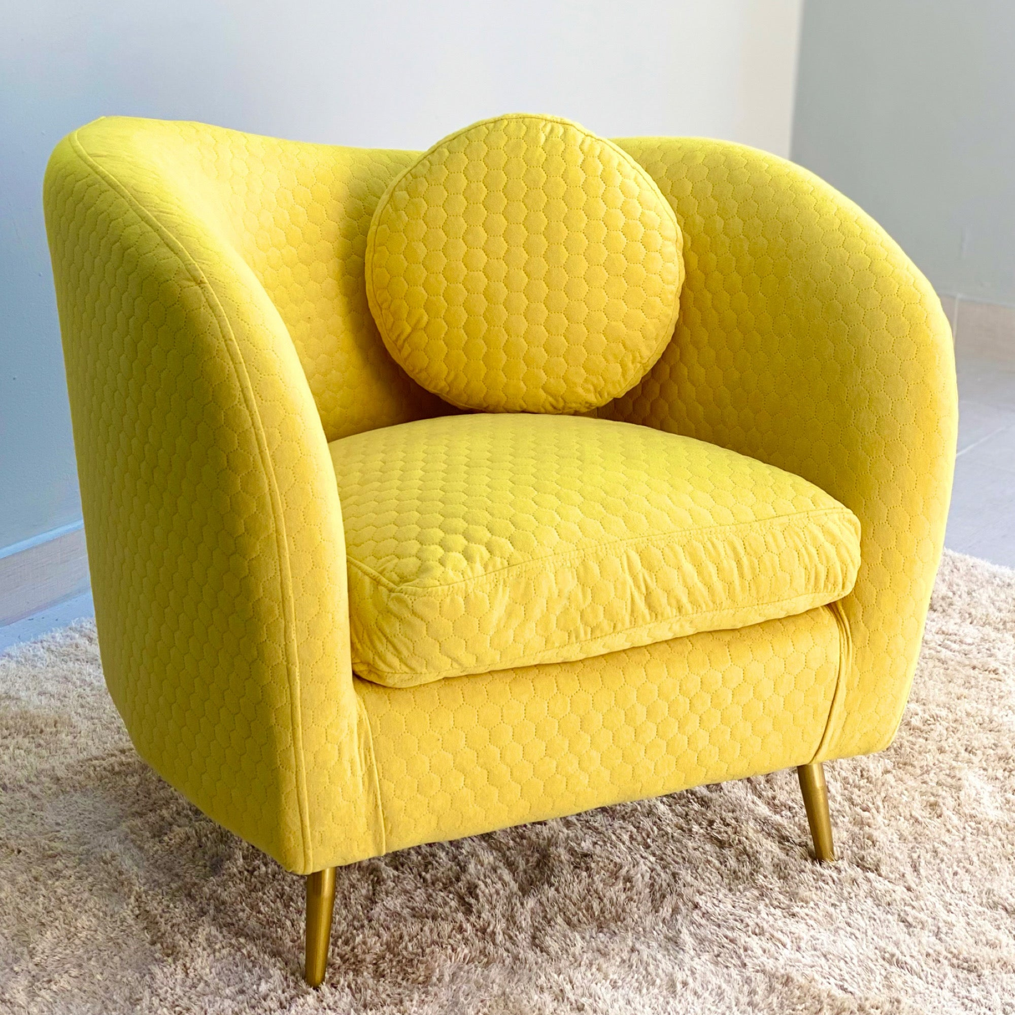 Curvy Velvet Yellow Chair