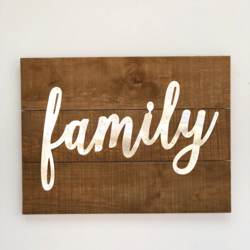 Family Square Wood & Iron Art