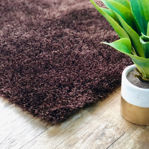 Express Brown Shaggy Rug