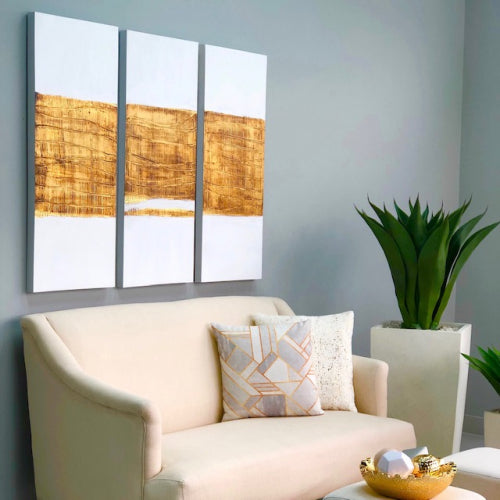 Golden Horizon Texture Canvas Art