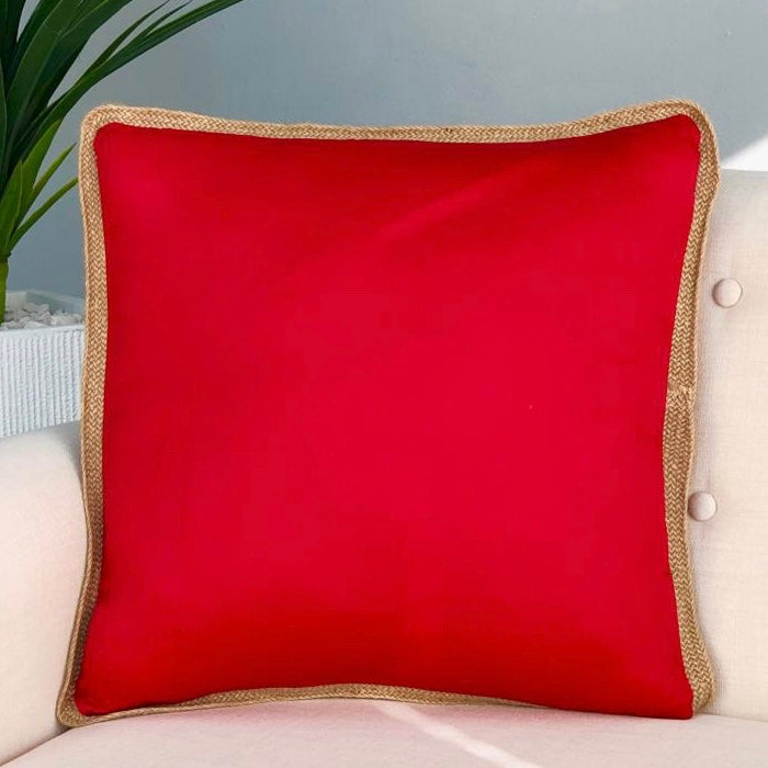 Solid Red Jute Rim Pillow