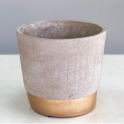 Golden Stripe Round Cement  Vase