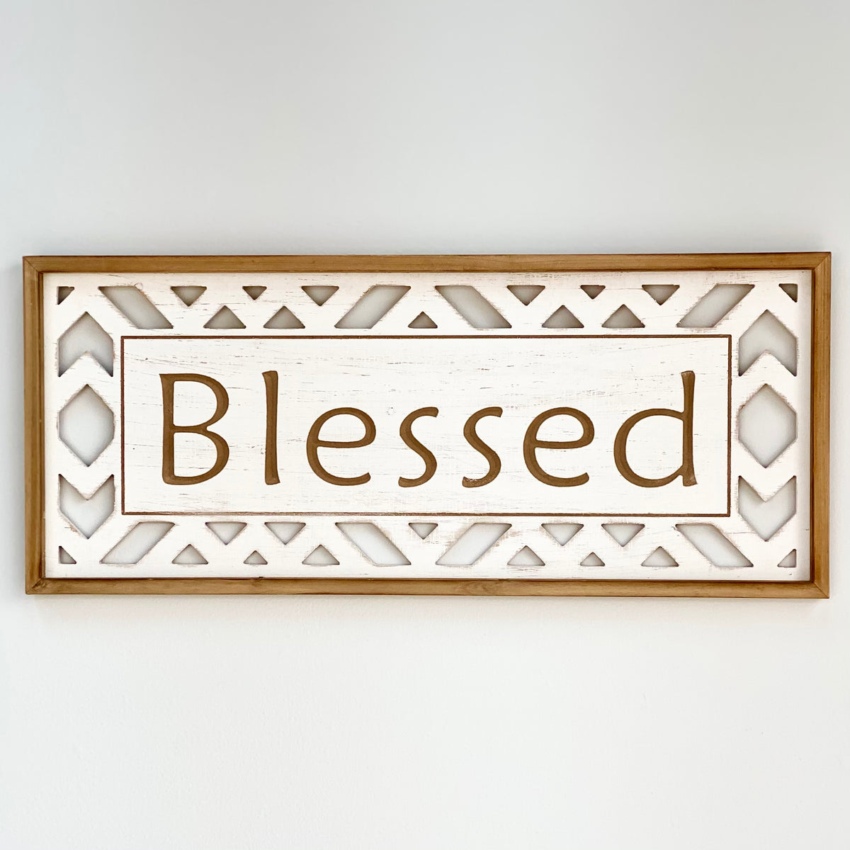 "Carved ""Blessed"" Wooden Wall Art"