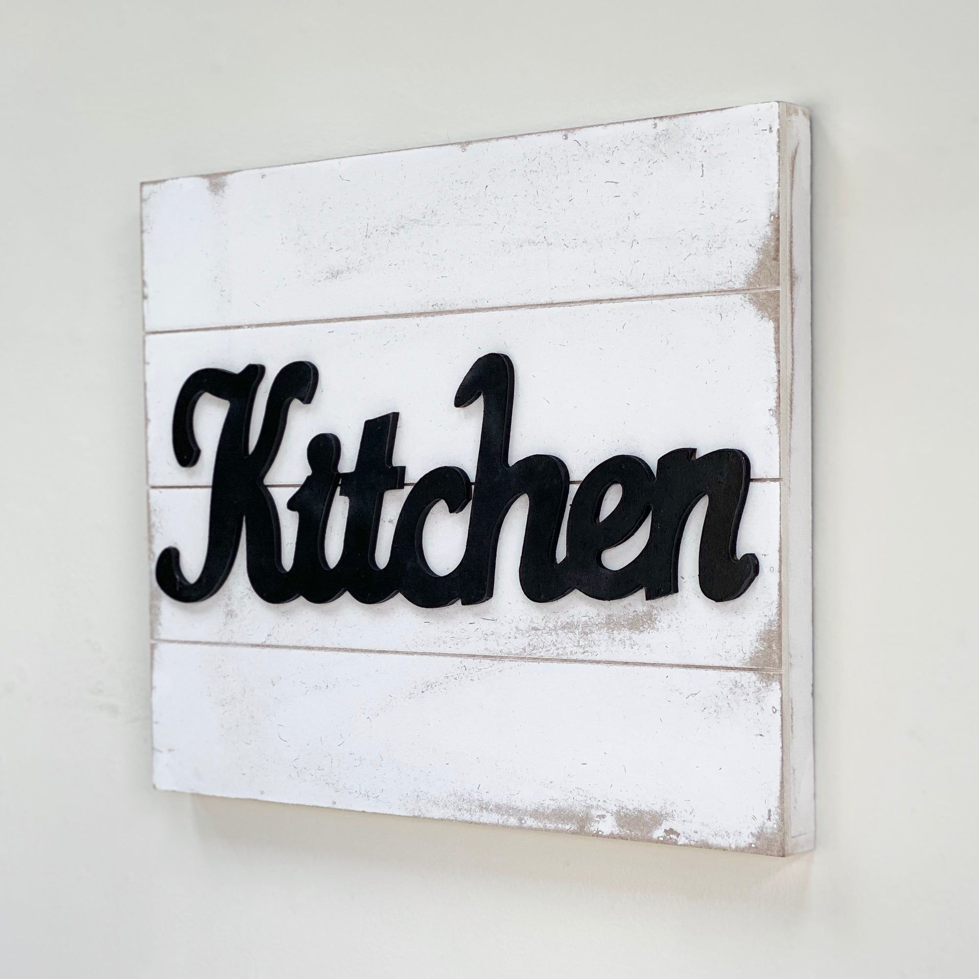 "Wood Wall Art  ""Kitchen"" Black & White"