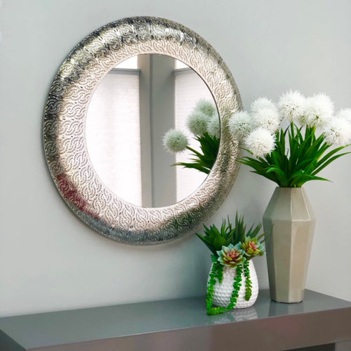 Brontë Embossed Metal Round Mirror