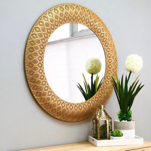 Calista Gold Metal Round Mirror