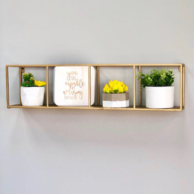 Adib Square Golden Metallic Shelf