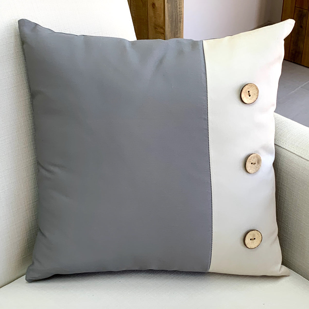 Wood Buttons Gray Pillow