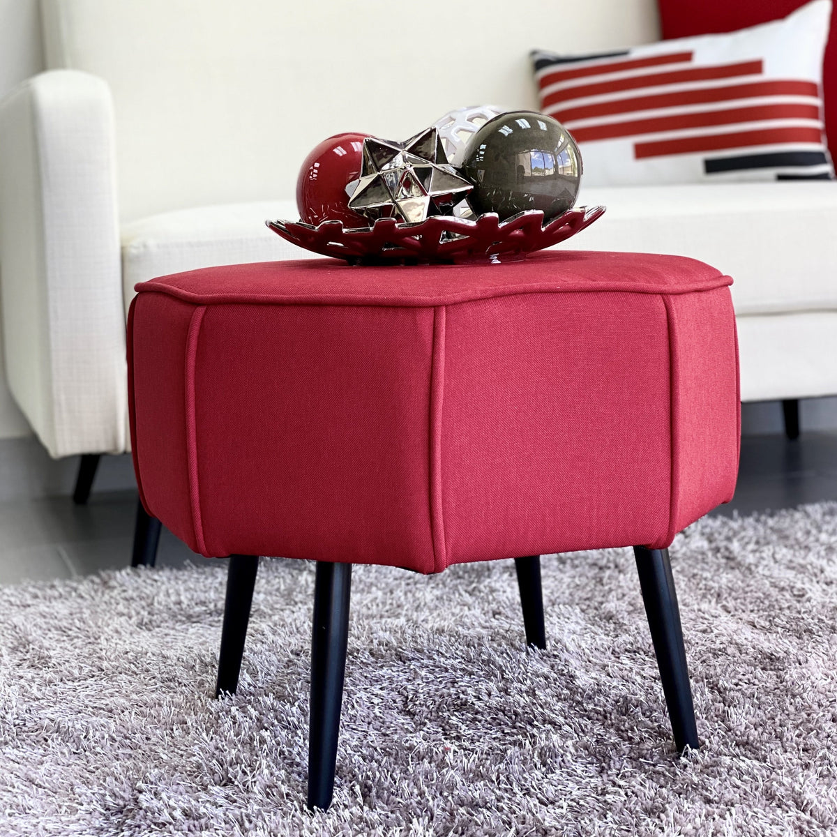 Multi Side Red Ottoman