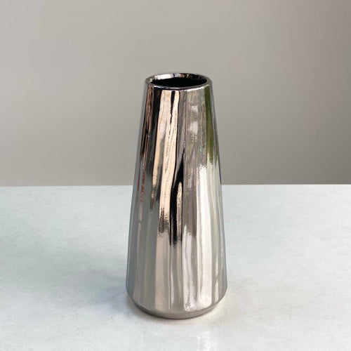 Small Round Chrome Gray Khloe Vase