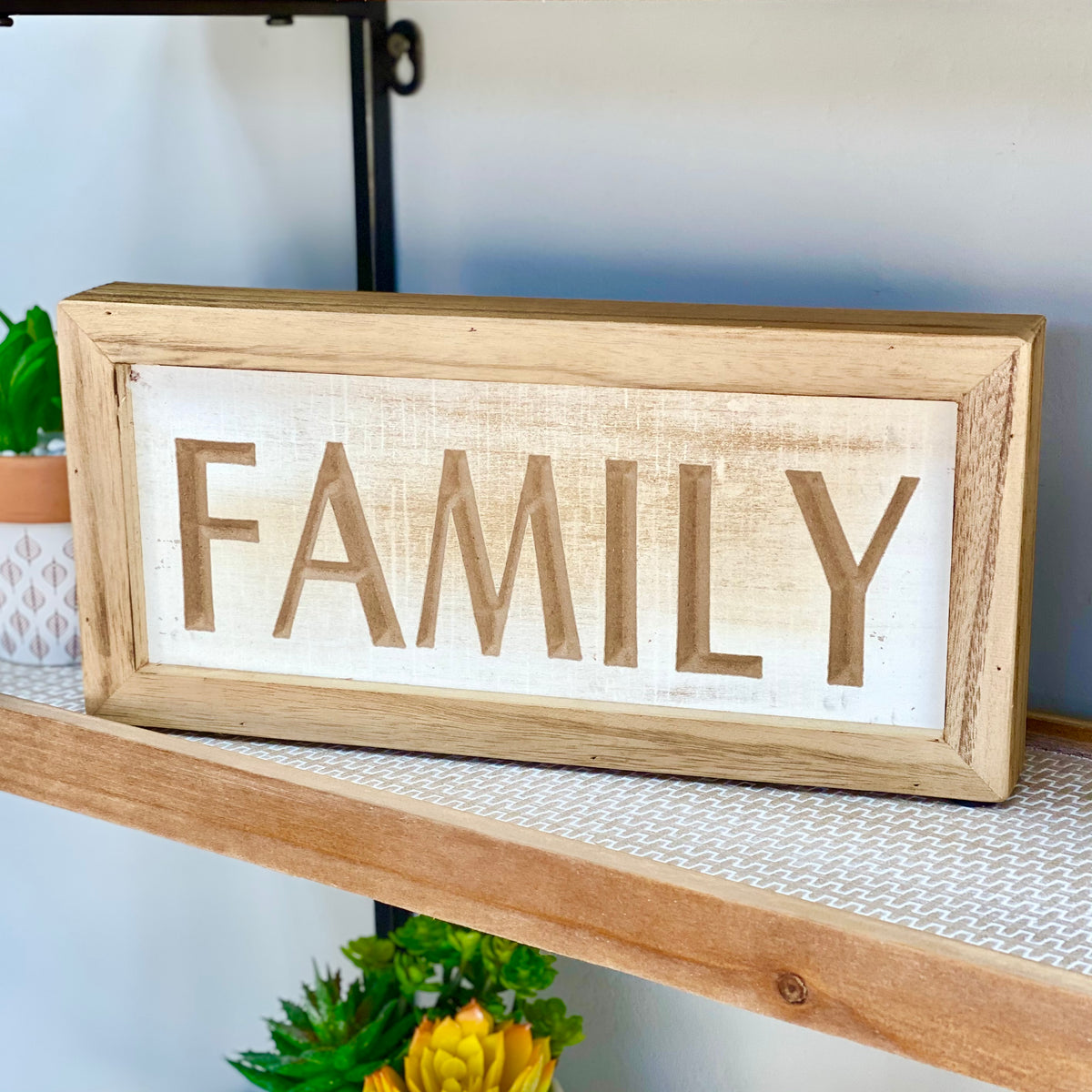 Family Wood Carved Table Top Sign
