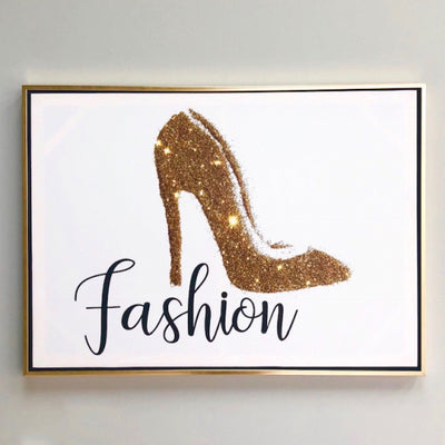 Shiny Gold Heel Fashion Canvas