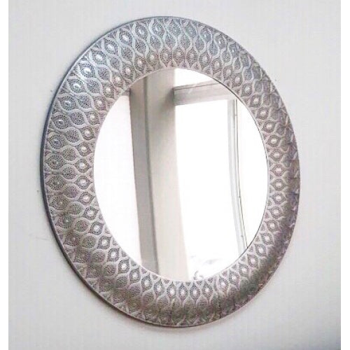 Calista Silver Metal Round Mirror