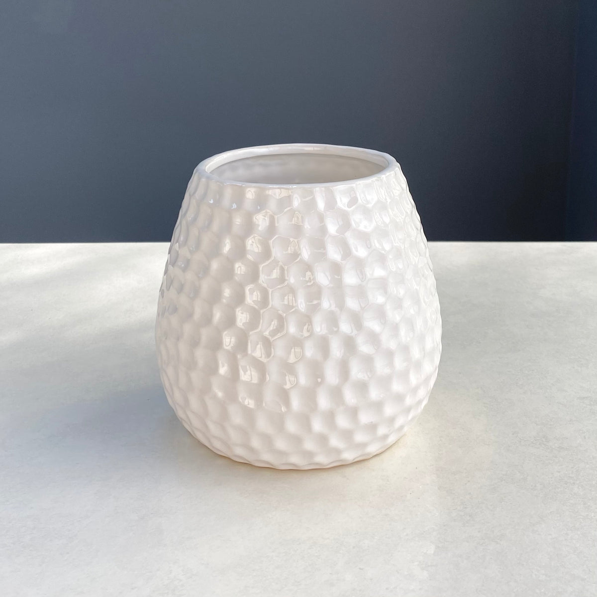 Hammered White Vase