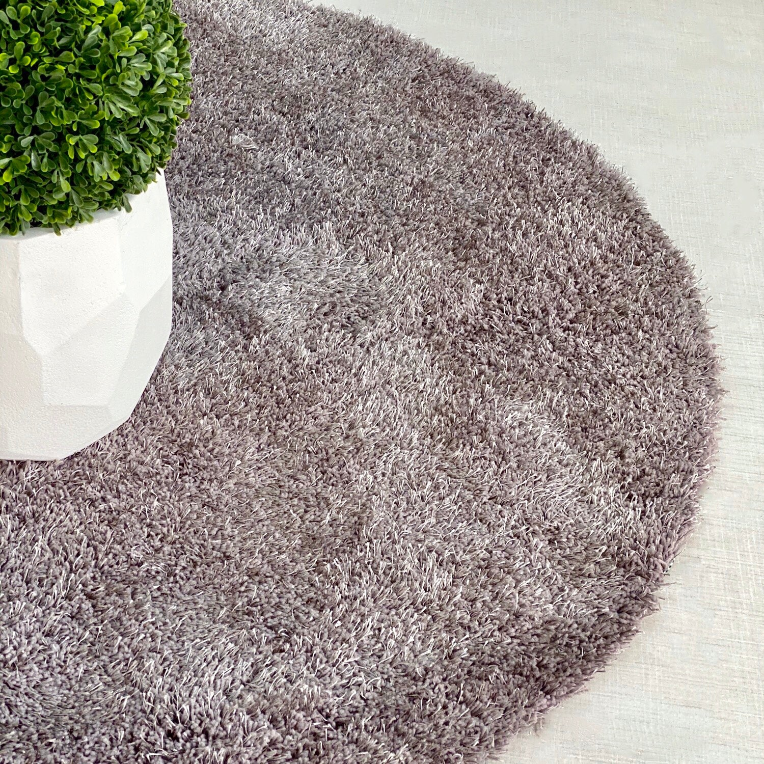 Express Gray Round Shaggy Rug