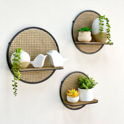 Rattan Look Round Shelves Set of 3