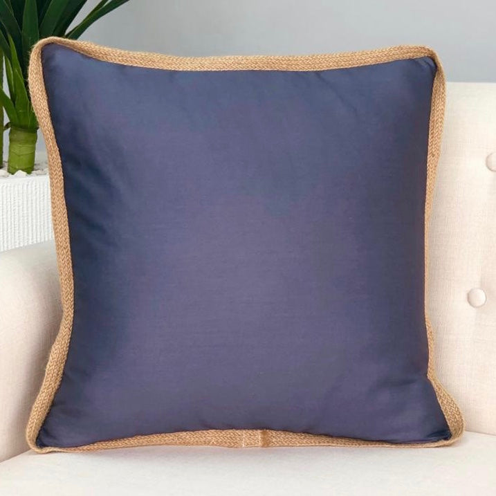Solid Charcoal Gray Jute Rim Pillow