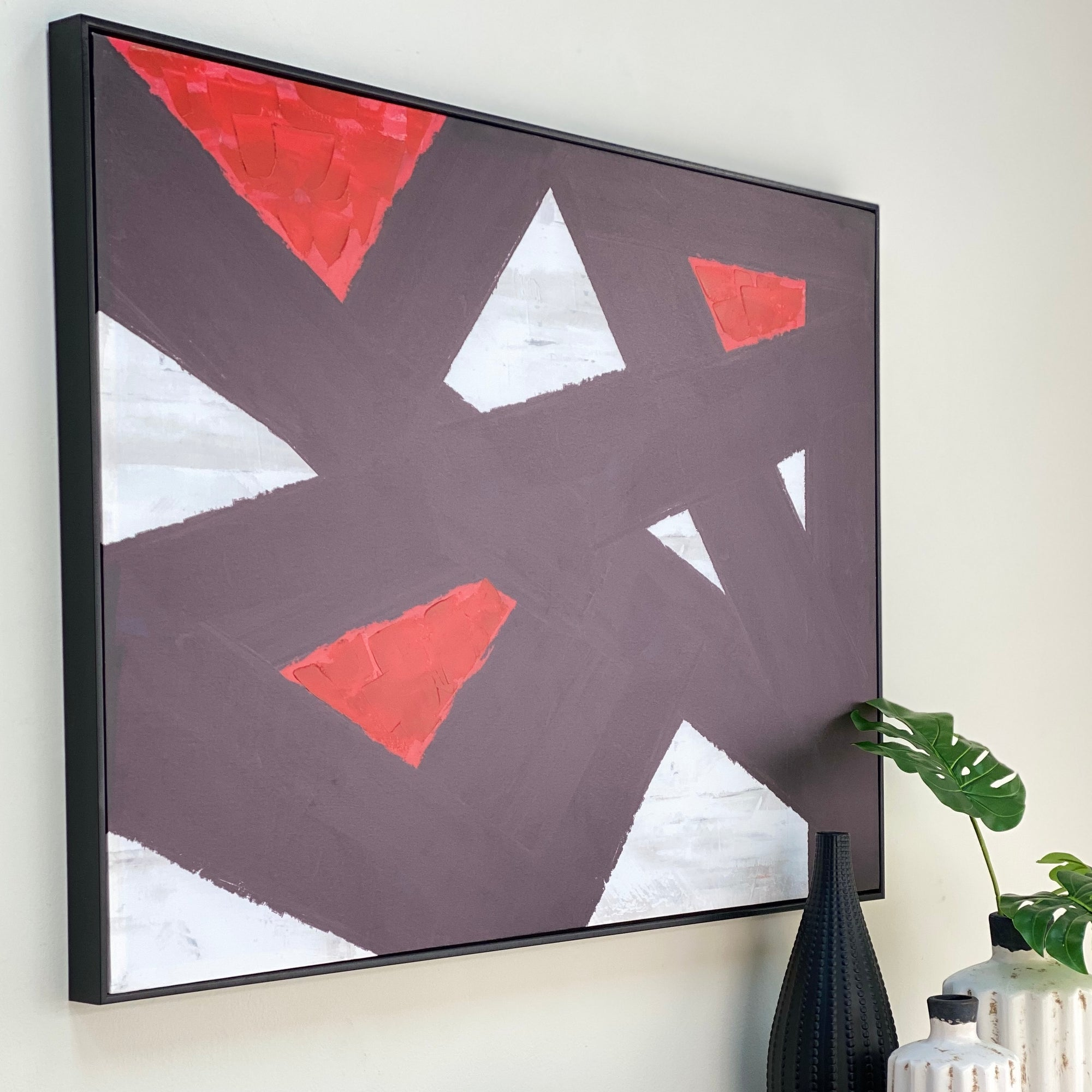 Framed Canvas Print Abstract Red