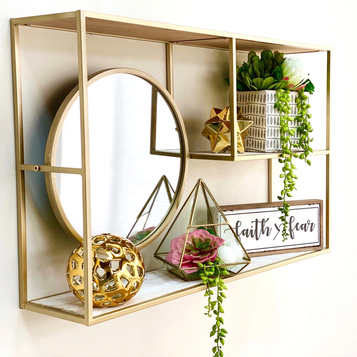 Reyna Golden Shelf With Mirror