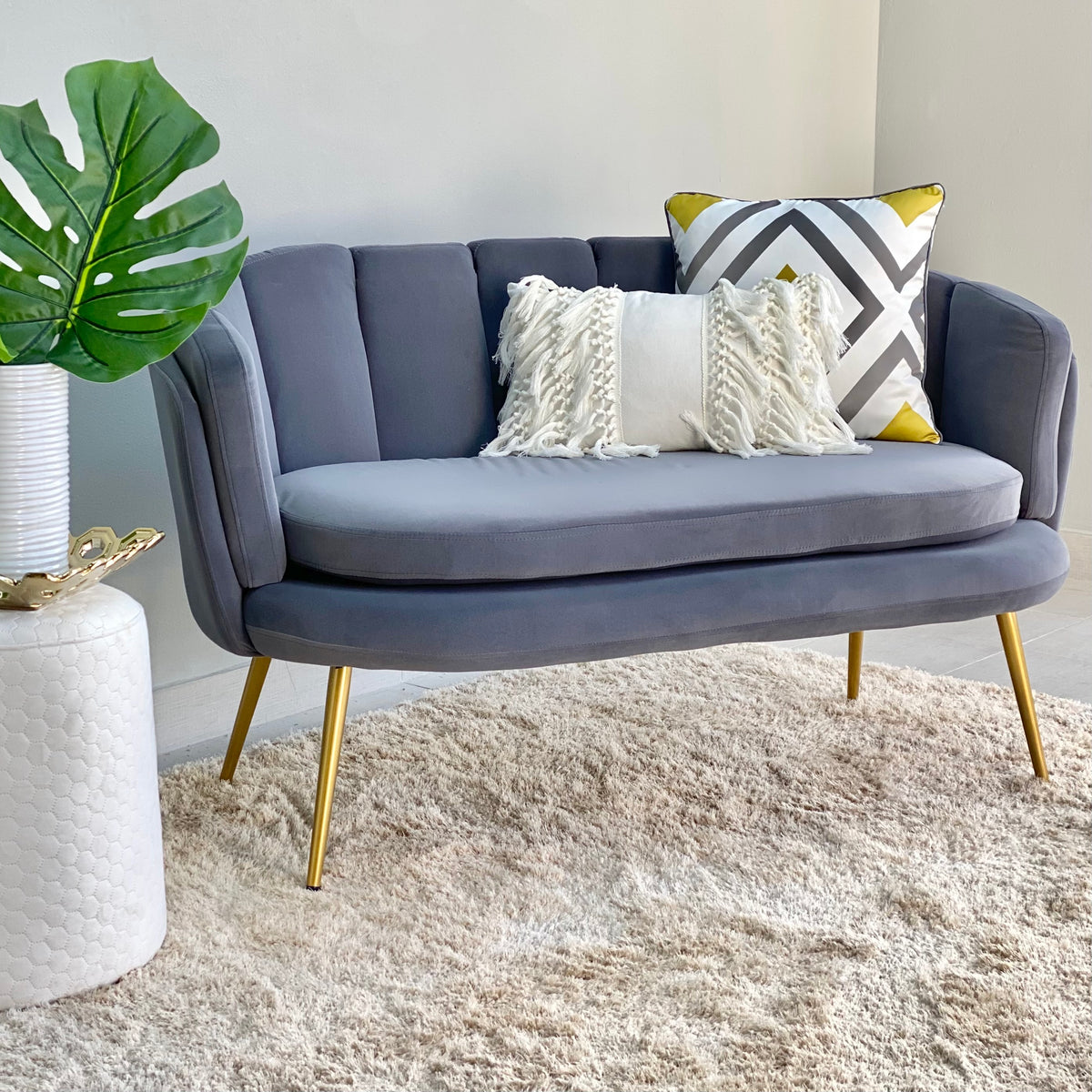 Gray Shell Shaped Loveseat