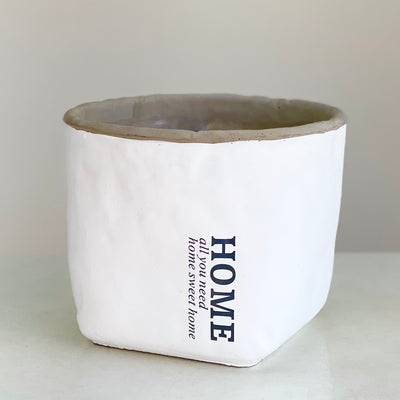 "Concreten Low Round Pot With ""HOME"" Label"