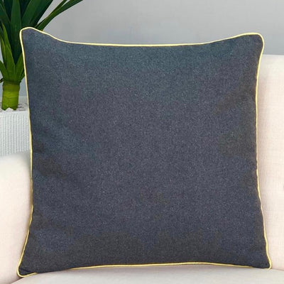 Solid Gray & Yellow Pipping Pillow