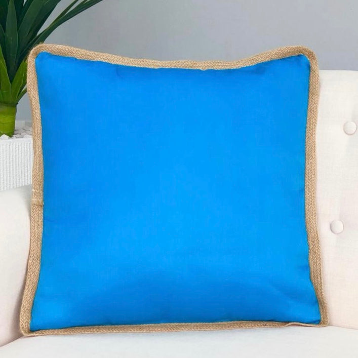 Solid Turquoise Jute Rim Pillow