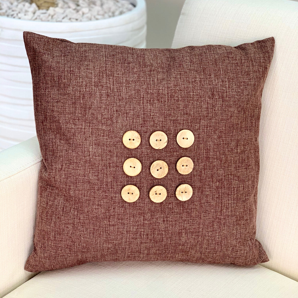 Multi Wood Buttons Brown Canvas Pillow
