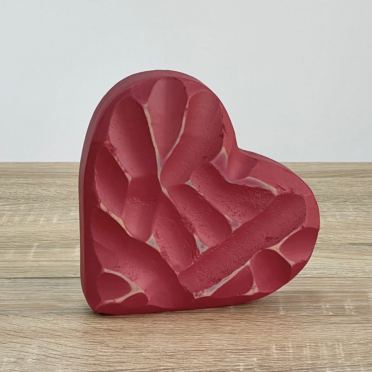 Carved Wood Standing Heart Red