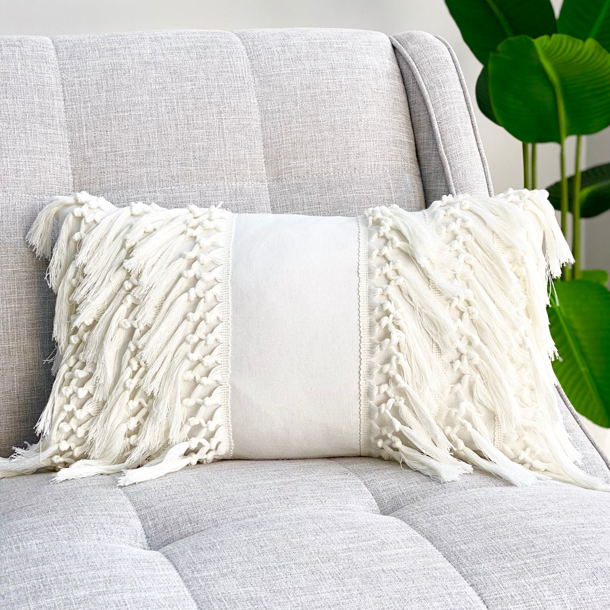 Bone White Cozy Braids Pillow