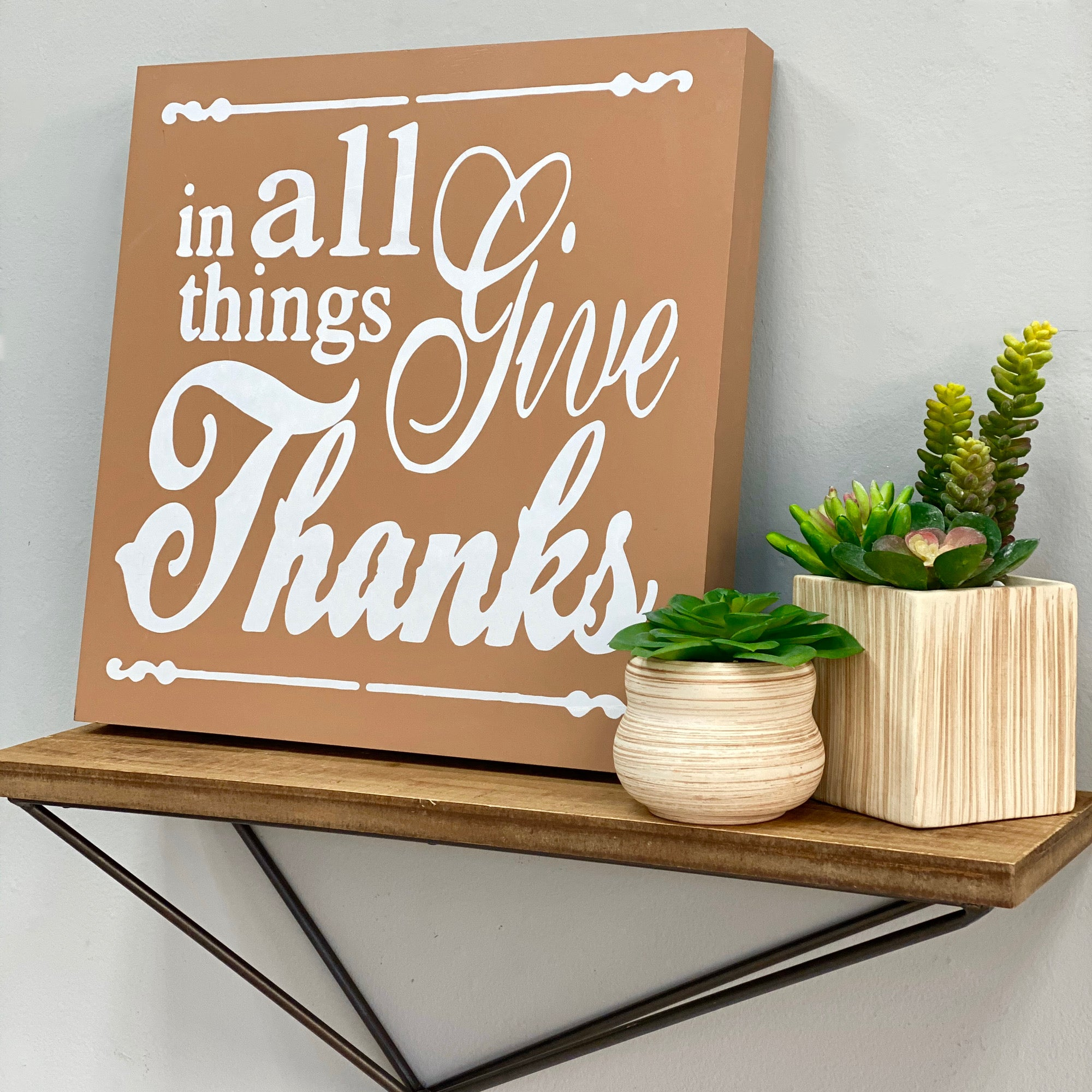 In All Things Give Htanks Square Wall Art