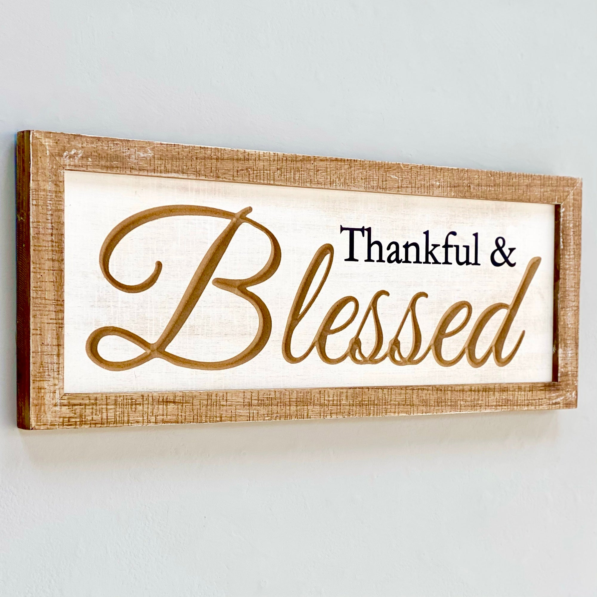 Thankful & Blessed Wooden Wall Art
