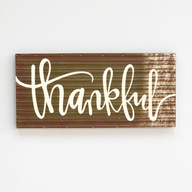 Thankful Rustic Aluminum Wall Art