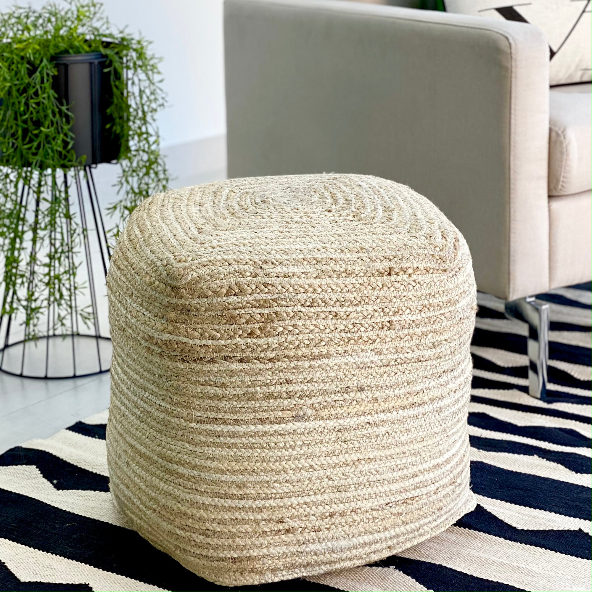 Jute and Coconut Ivory Ottoman