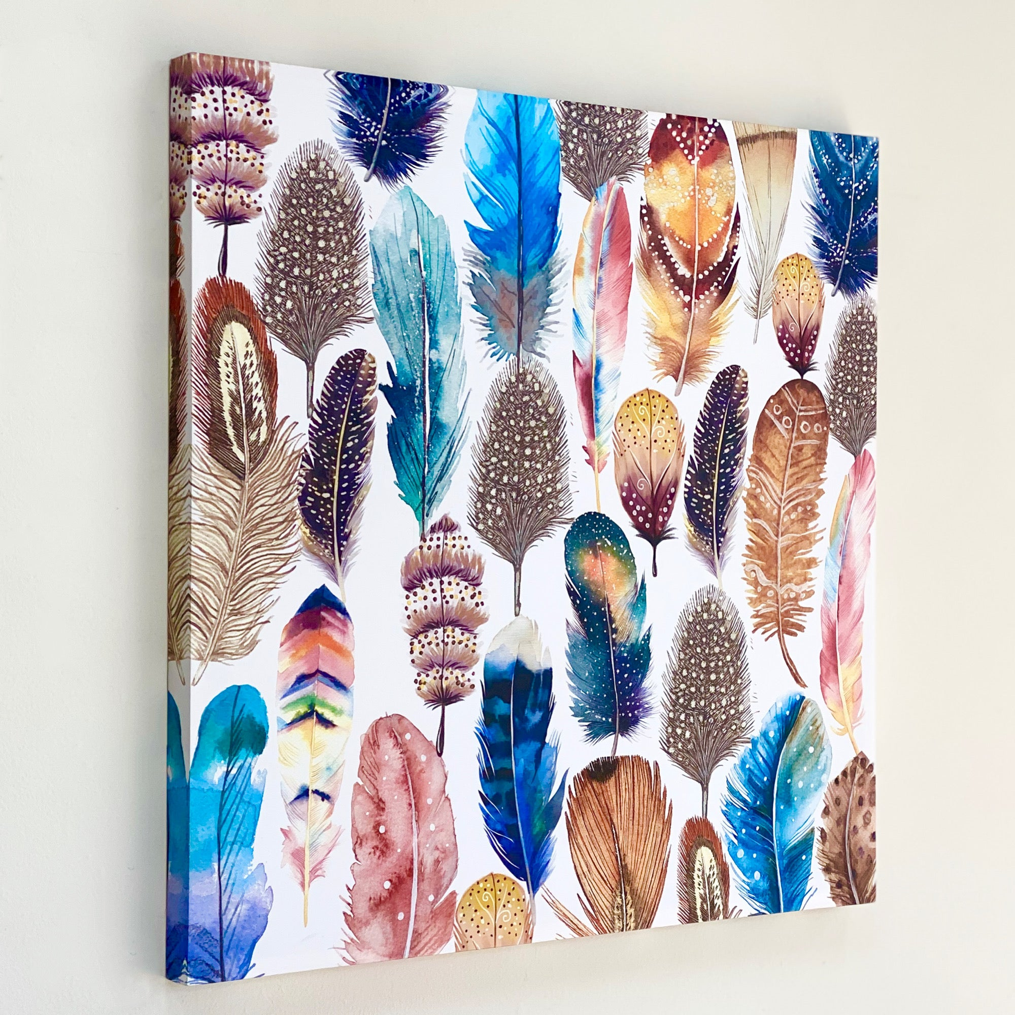 Colorful Many Feathers Stamp Canvas