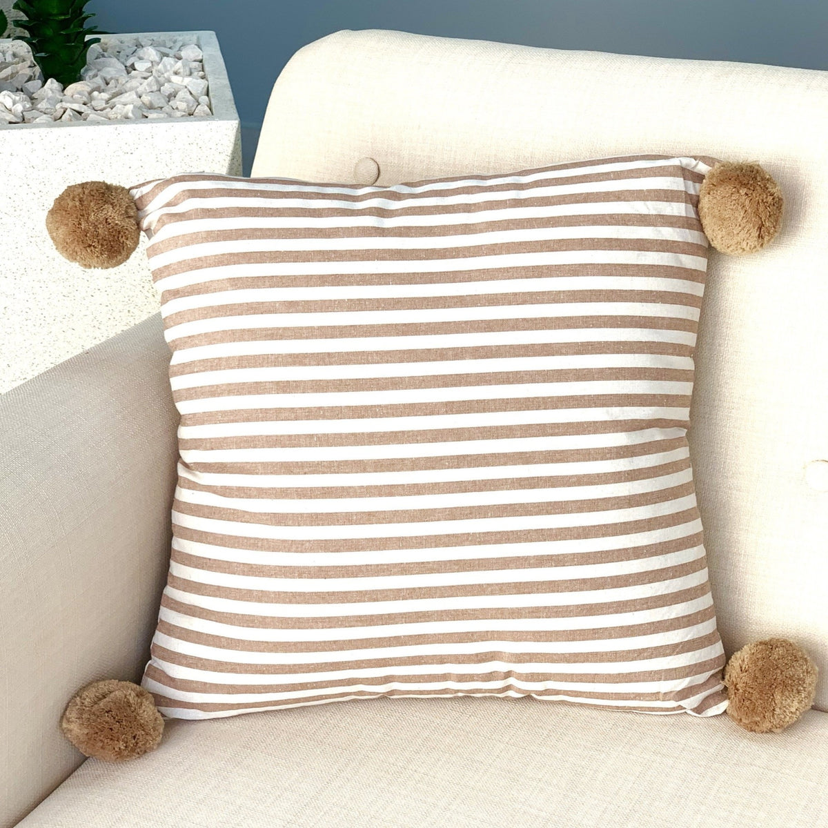 Pom Pom Ivory & Brown Stripes Pillow