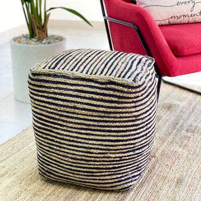 Jute and Coconut Black Stripes Ottoman