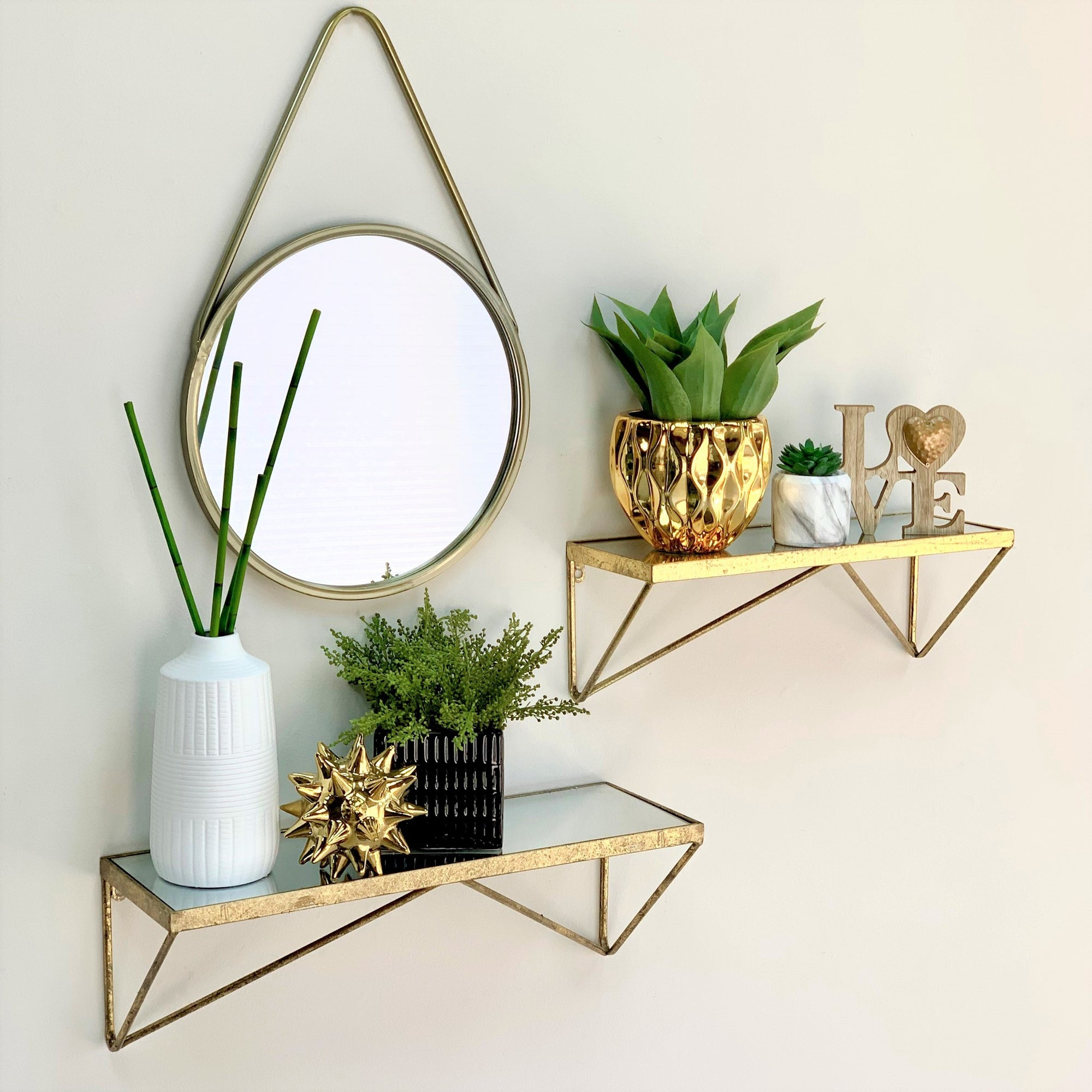 Hafid  Mirror Top Golden Shelf Set
