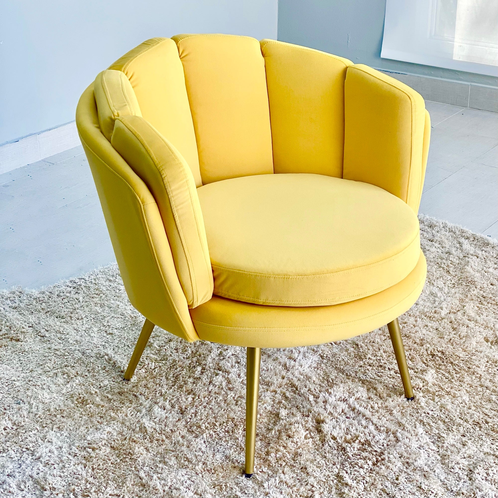 Illuminating Velvet Yellow Shell Shaped Chair