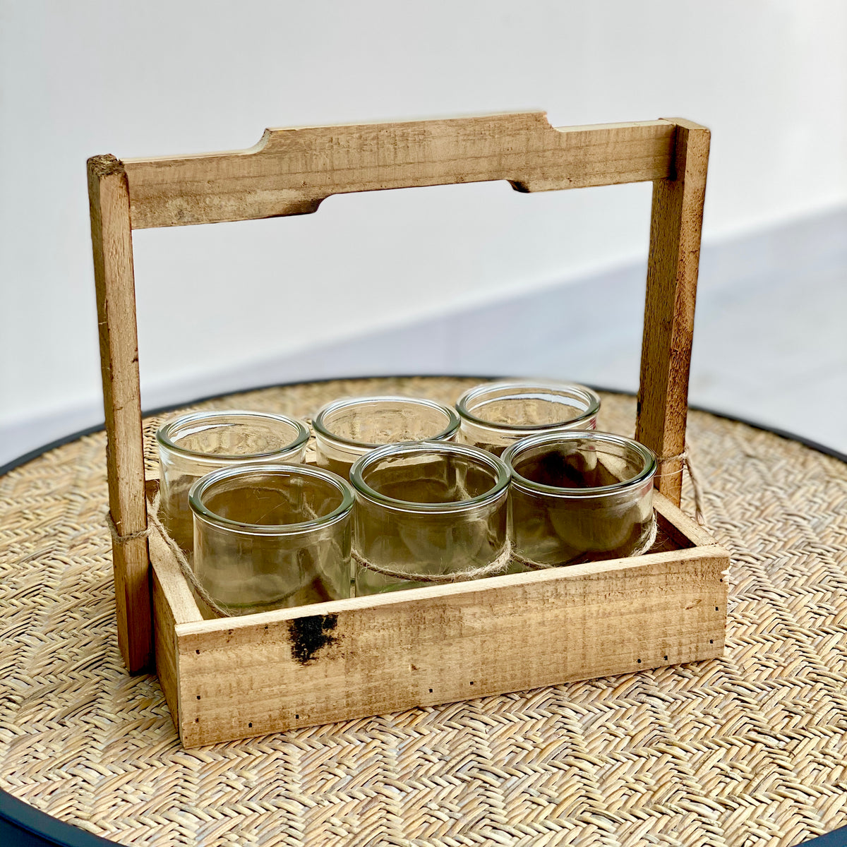 Wooden Planter Box With 6 Round Glass Planter