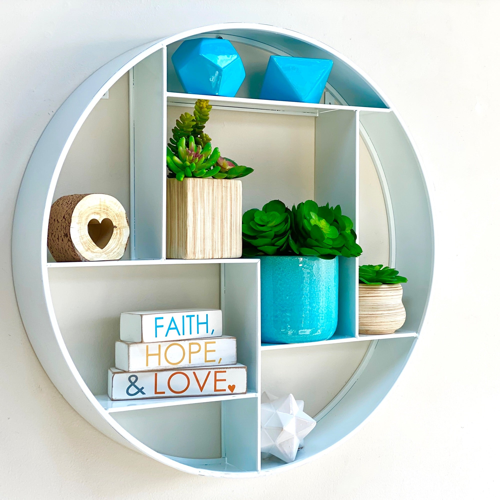 Metal Round Wall Shelf White