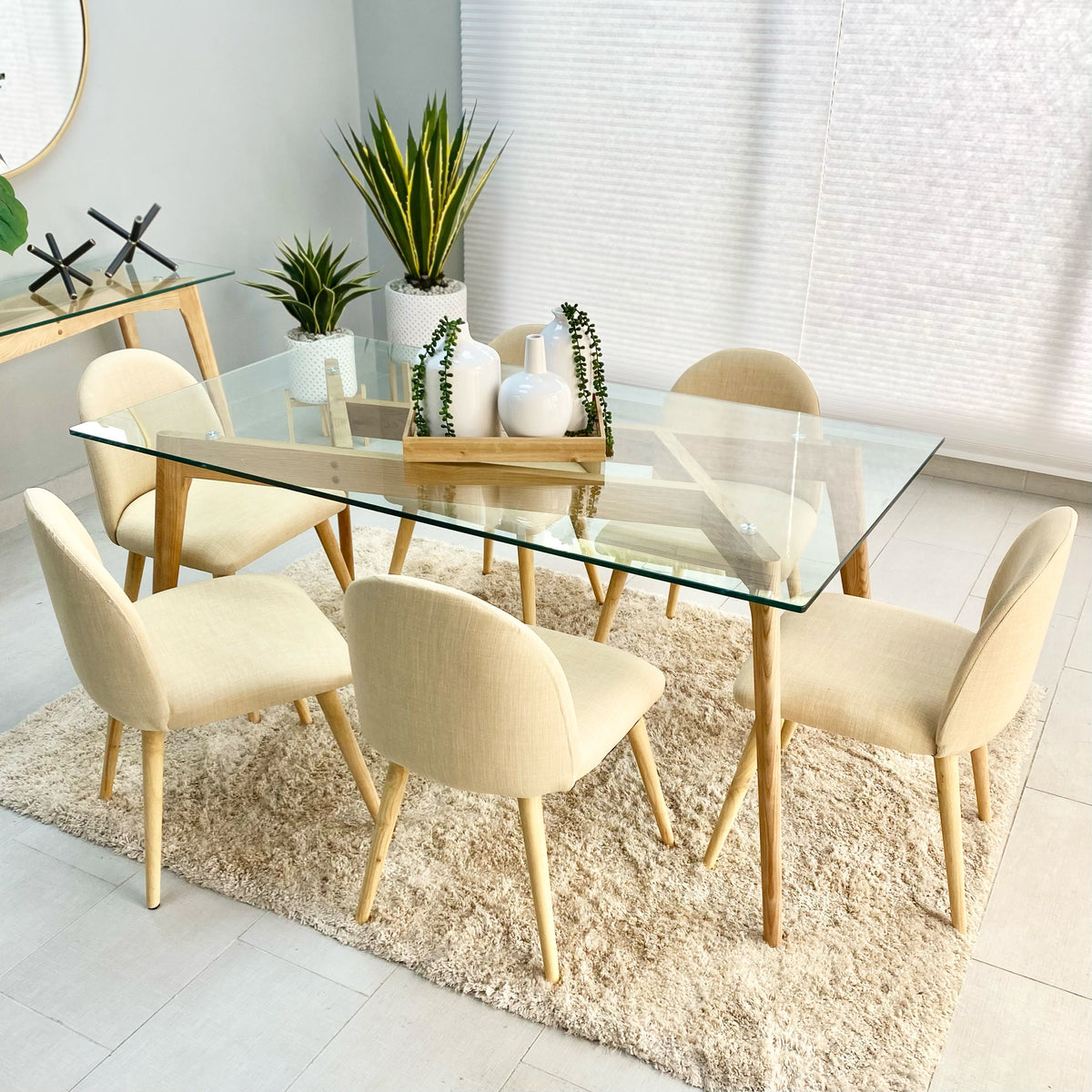 Barcelona Wood Dining Table Ivory Set