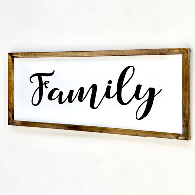"Wood Large Wall Art Cursive ""Family"""