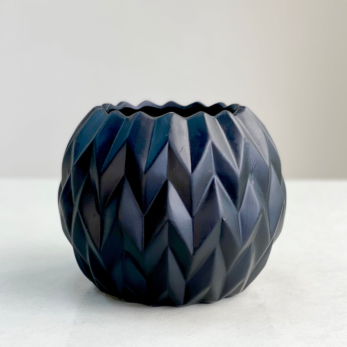 Embossed Wave Matte Black Vase