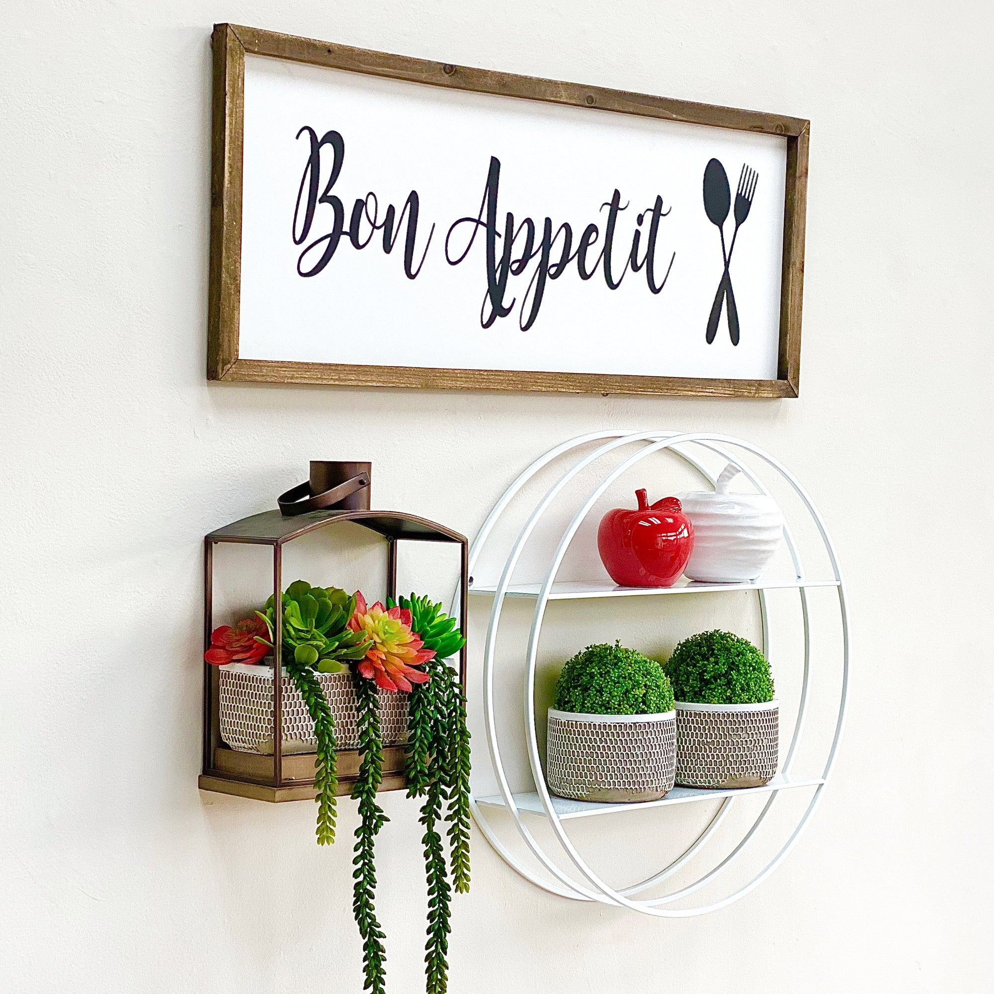 "Wood Large Wall Art Cursive ""Bon Appetit"""