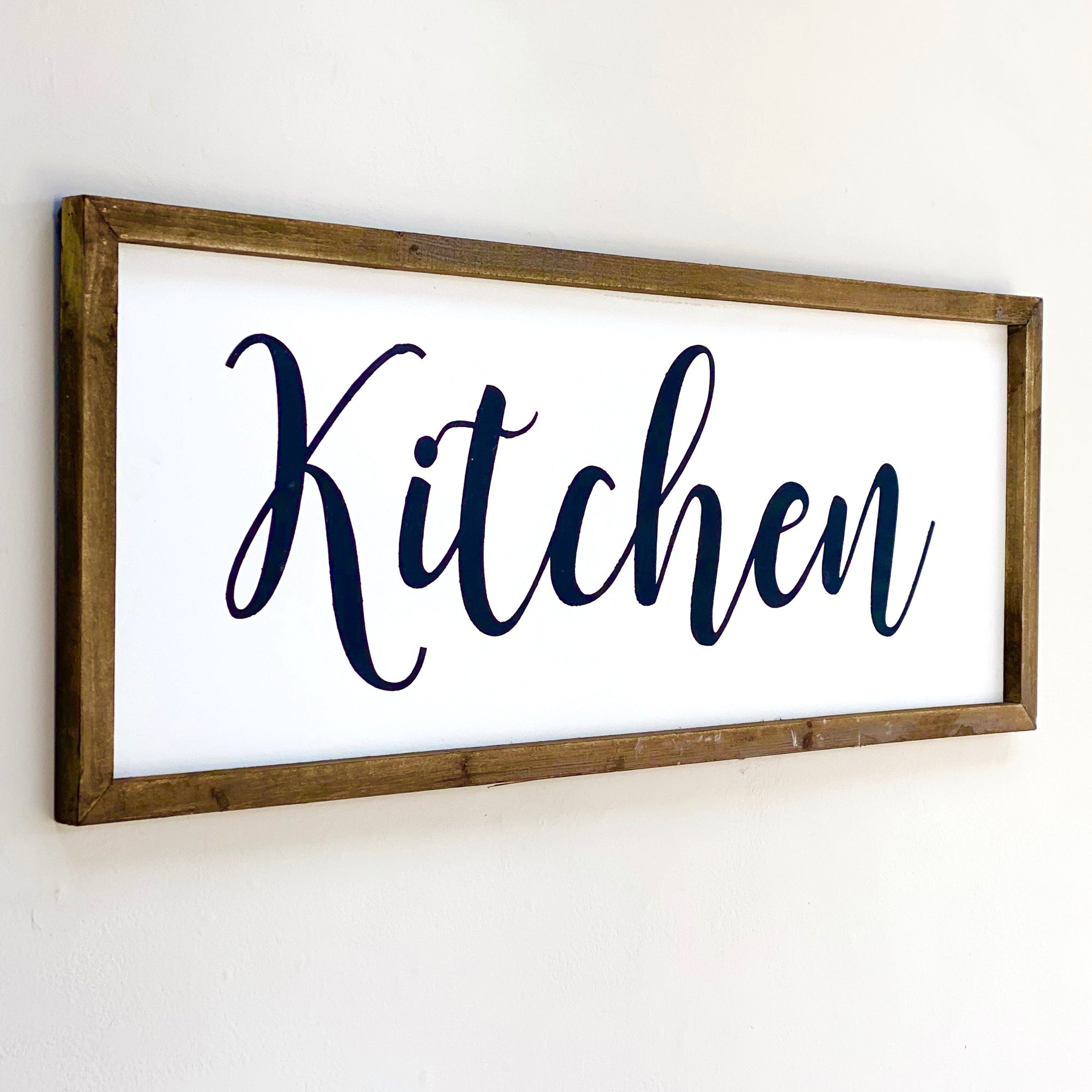 "Wood Large Wall Art Cursive ""Kitchen"""