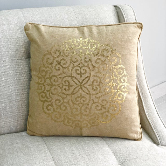 Mehndi Gold Medallion Sand Pillow