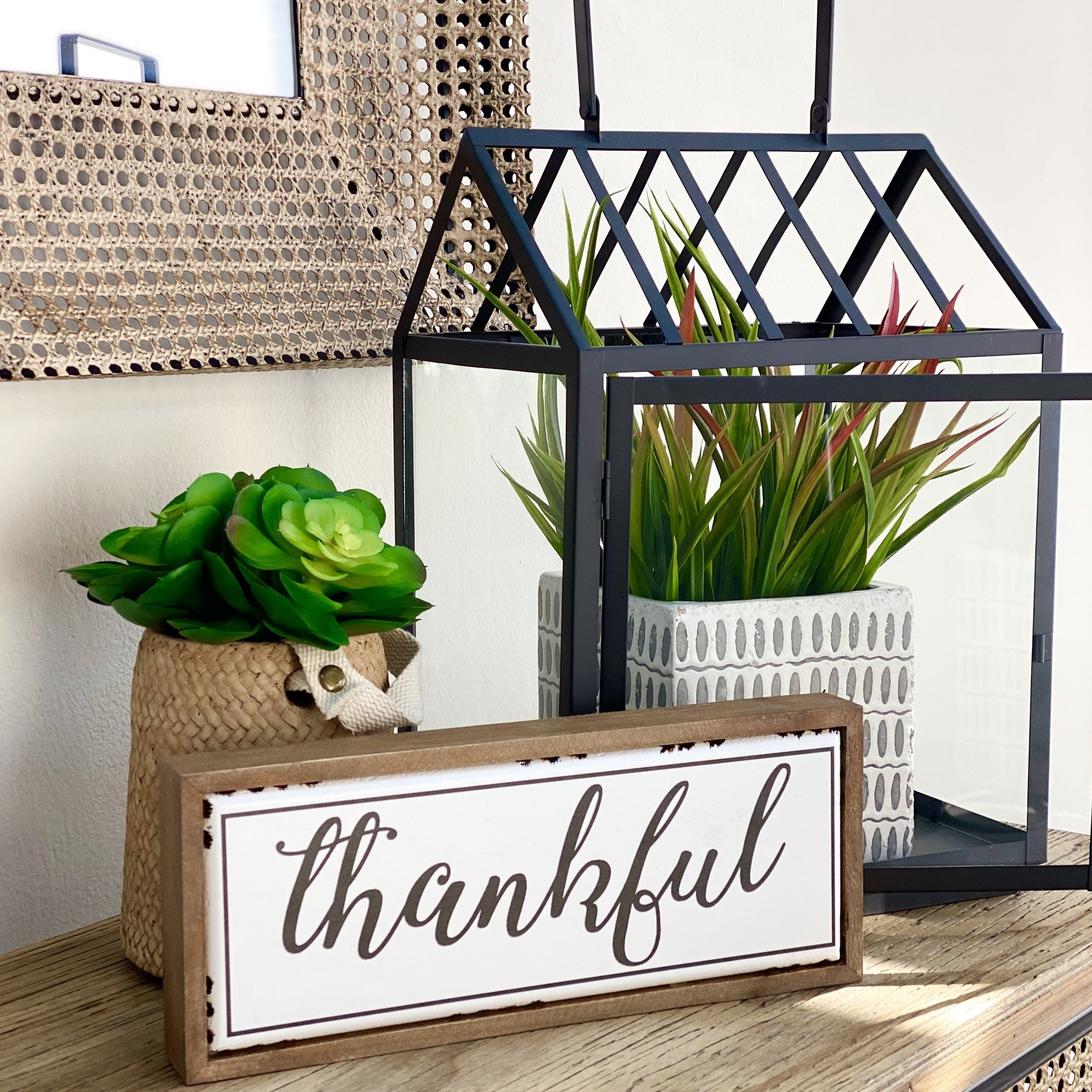 Thankful Wood and Metal Table Top Sign