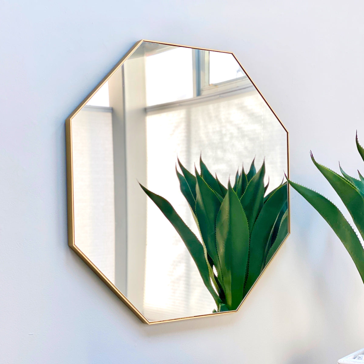 Octagon  Metal Gold Frame Mirror