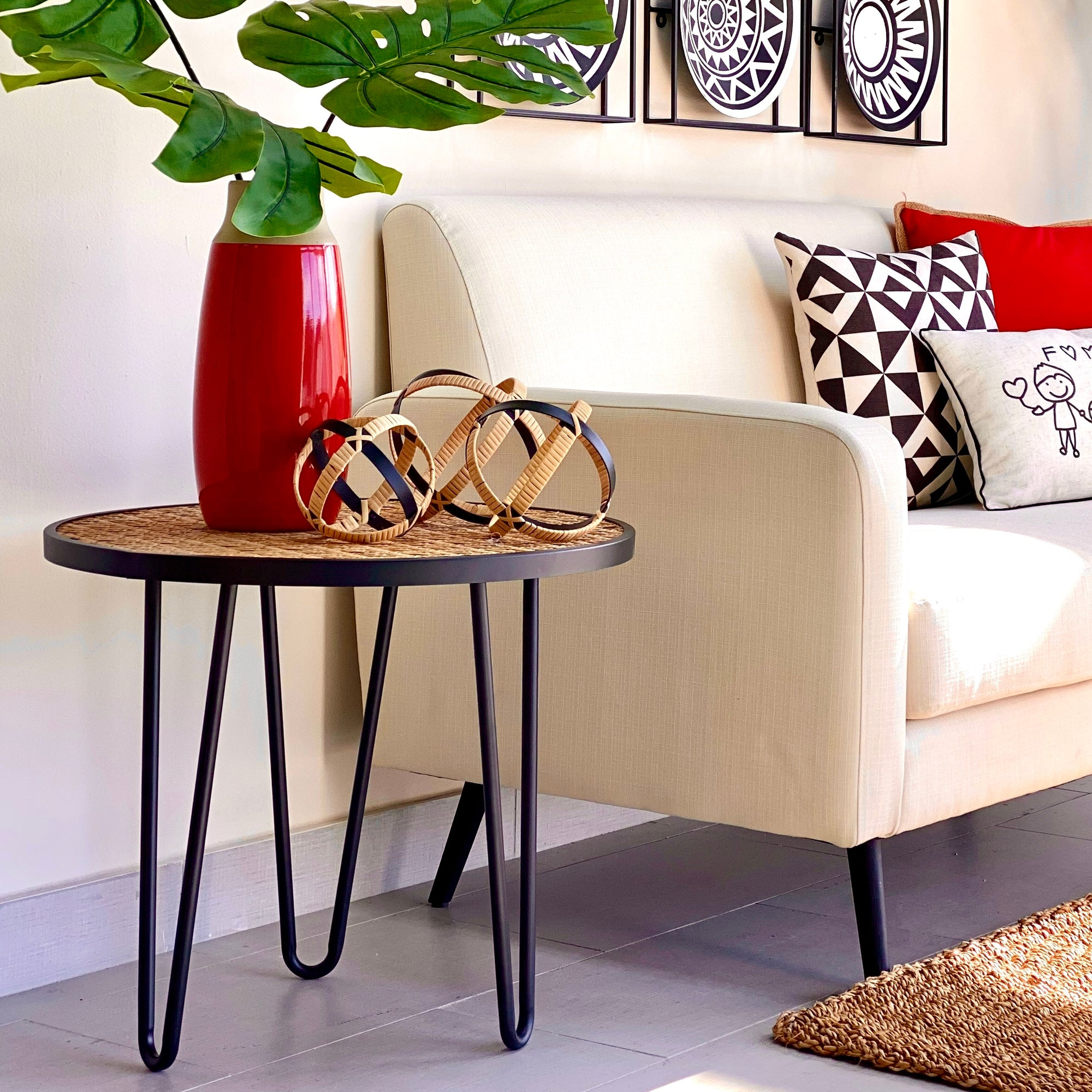 Rattan Look Top Round Side Table